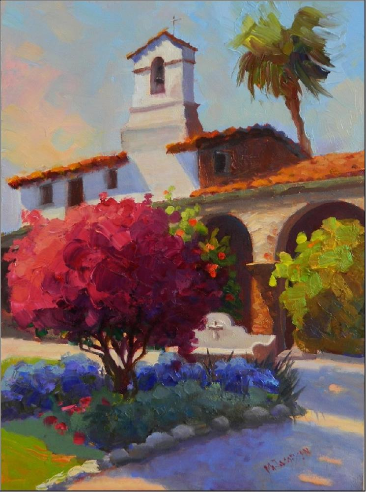 """The Colors of Capistrano, 12x16, oil on board, Mission San Juan Capistrano, California mission, MA"" original fine art by Maryanne Jacobsen"