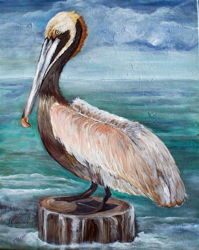 """""""Pelican on a Pier, Acrylic w/Ocean Waves in Background 16 x 20 orig"""" original fine art by Penny Lee StewArt"""