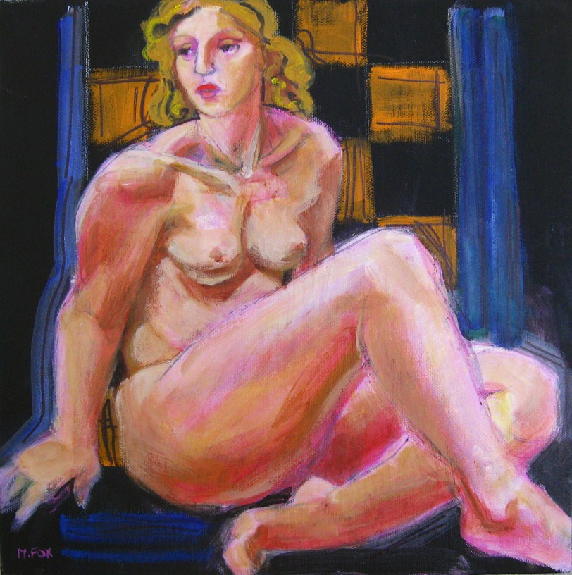 """Nude woman figurative painting, contemporary realism figuration painter"" original fine art by Marie Fox"