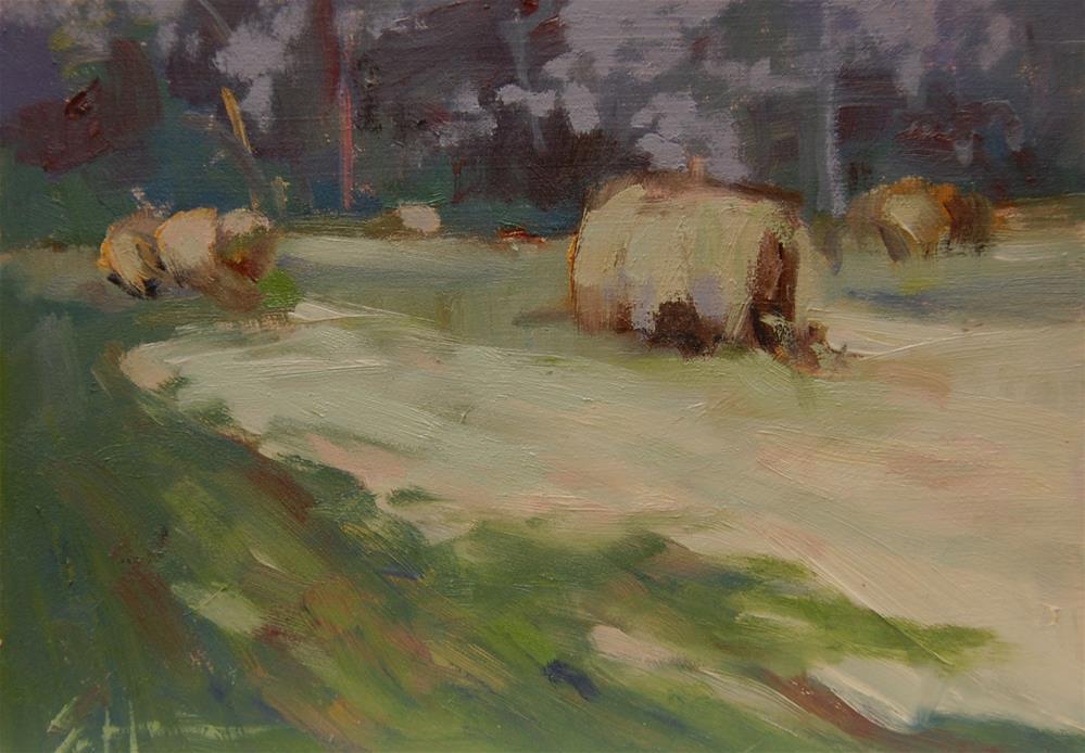 """""""Round Bales"""" original fine art by Susan Hughes"""