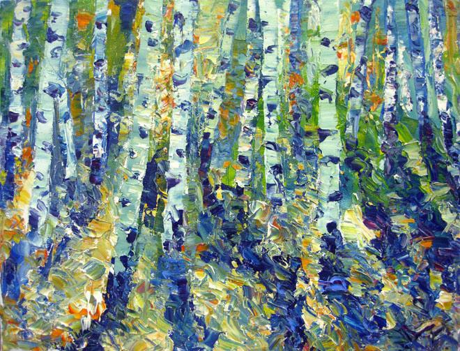 """""""Green Symphony"""" original fine art by Julia Lu"""