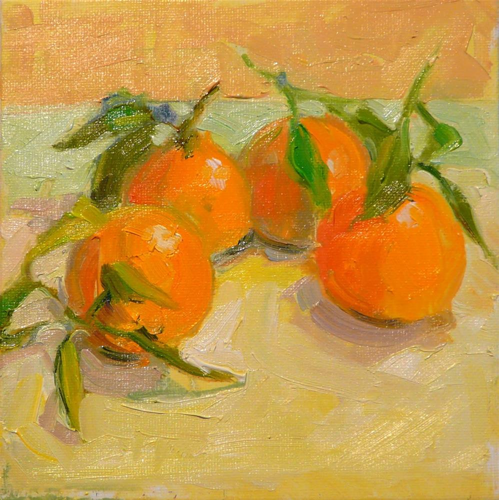 """Christmas Satsumas,still life,oil on canvas,6x6,price$200"" original fine art by Joy Olney"