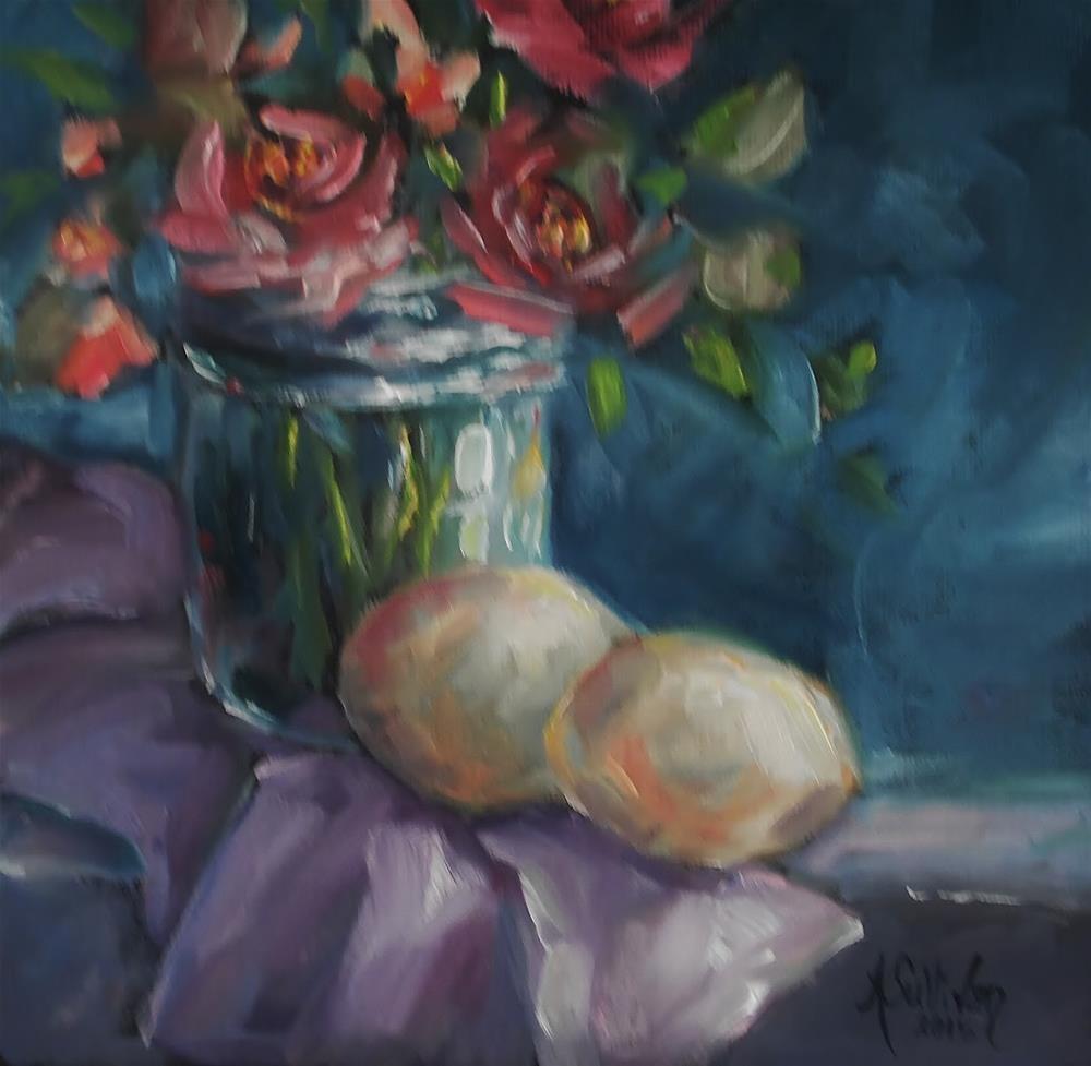 """Eggs On Board oil painting by Alabama Artist Angela Sullivan"" original fine art by Angela Sullivan"