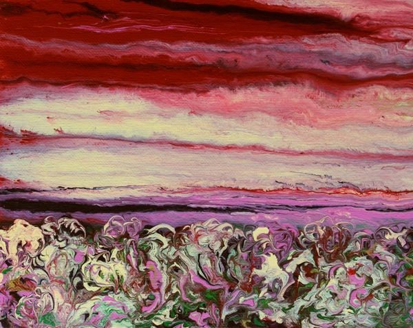 """Abstract Landscape,Sunset Art Painting Field of Flowers by Colorado Contemporary Artist Kimberly C"" original fine art by Kimberly Conrad"