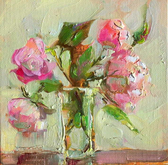 """August Roses,still life,oil on canvas,6x6,priceNFS"" original fine art by Joy Olney"