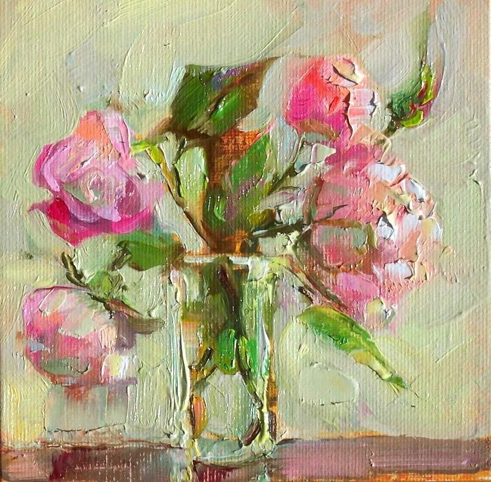 """August Roses,still life,oil on canvas,6x6,priceNFS"" original fine art by Joy Olney"