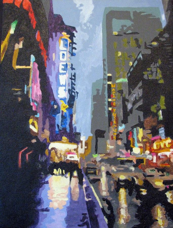 """West 42nd Street"" original fine art by Nan Johnson"