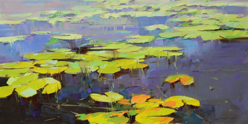 """WATERLILIES POND IMPRESSIONISM"" original fine art by V Y"