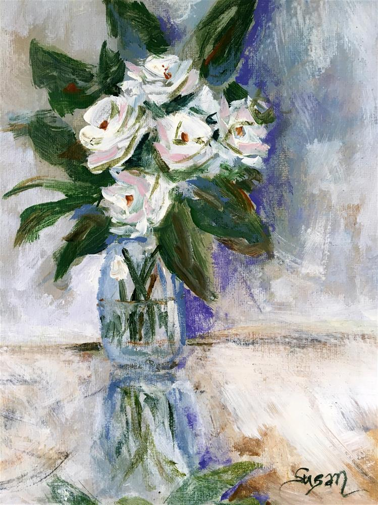 """White Rose Study"" original fine art by Susan Elizabeth Jones"