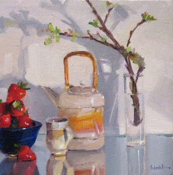 """Teapot and Strawberry Reflections still life fruit tea daily painting $1 ebay auction"" original fine art by Sarah Sedwick"
