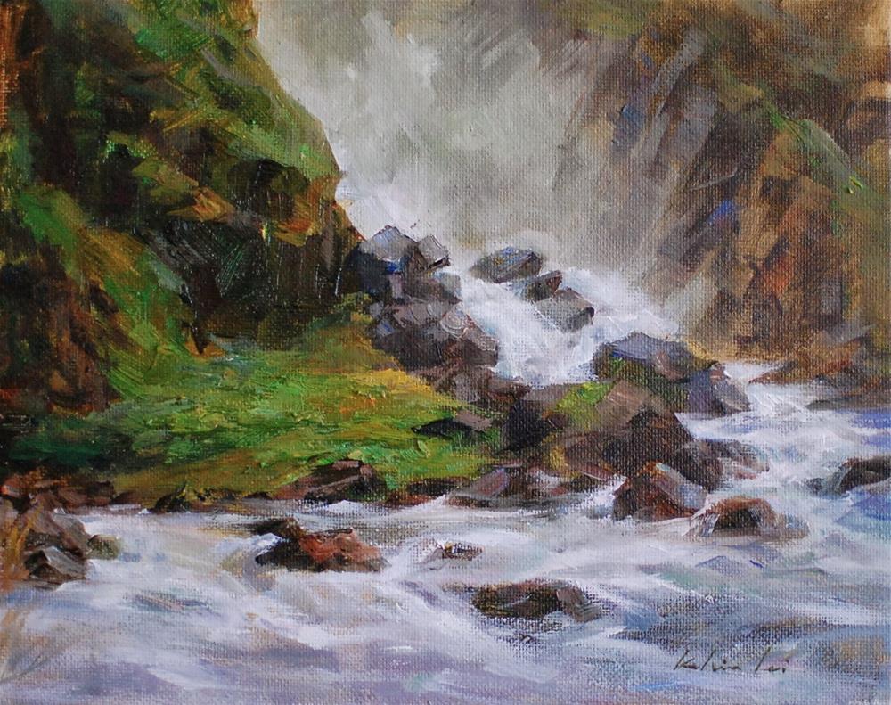 """""""Misty Falls"""" original fine art by Kelvin Lei"""