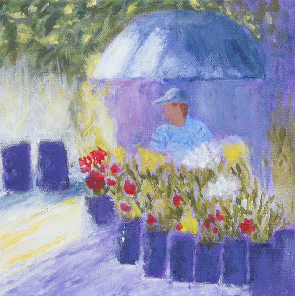 """Flowers for Sale"" original fine art by karen richardson"