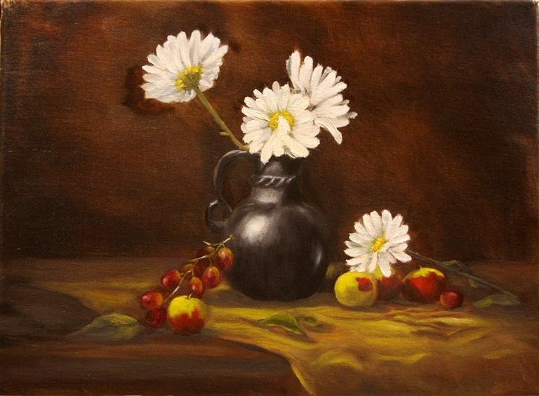 """Daisies and Apples"" original fine art by Mary Datum"