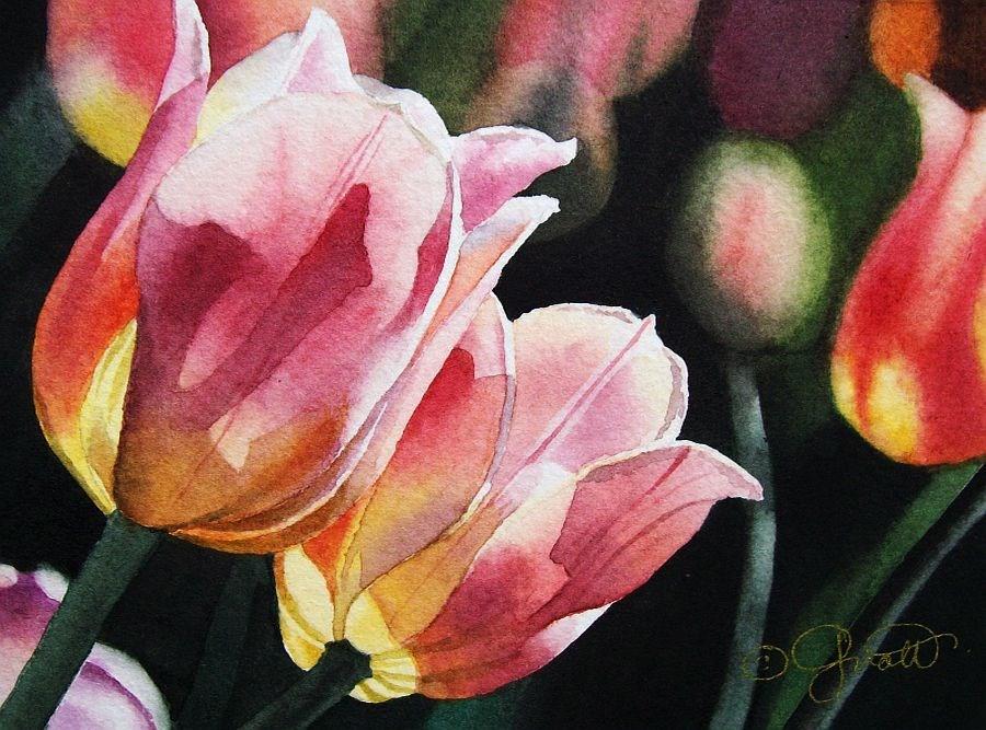 """Springtime Tulips"" original fine art by Jacqueline Gnott, TWSA, WHS"