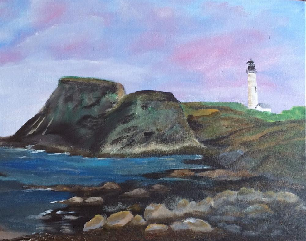 """Yaquina Bay Light House"" original fine art by Kimberly Balentine"