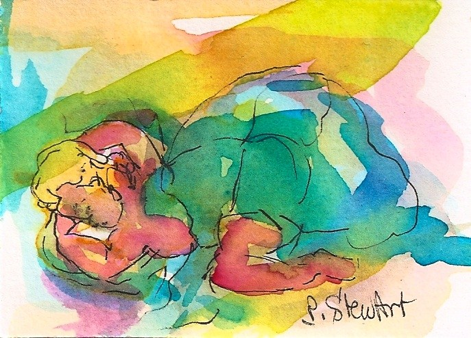 """ACEO: Don't Wake The Baby. Infant sleeping under a quilt.  Original WC & Pen"" original fine art by Penny Lee StewArt"
