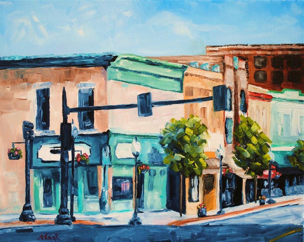 Street Corner on Sunday original fine art by Alison Kolkebeck