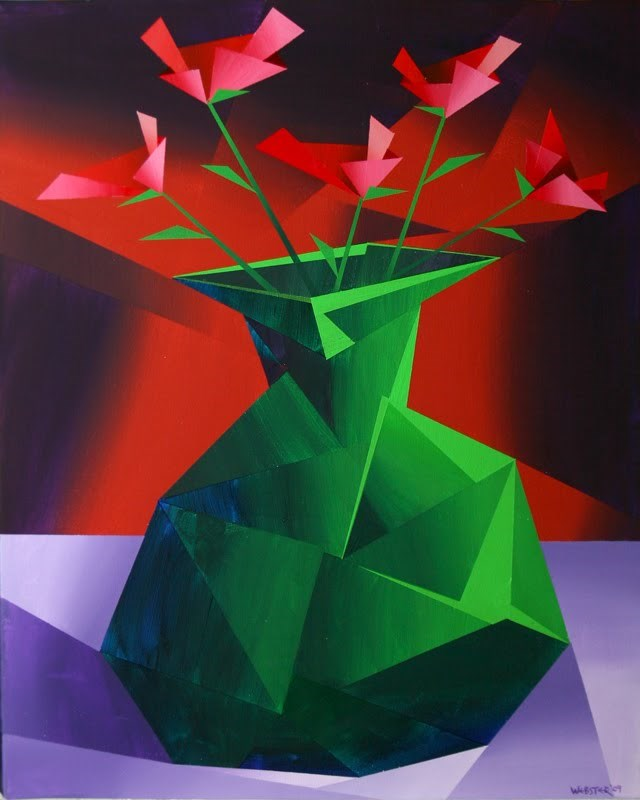 """Mark Webster - Abstract Red Roses in Green Vase Prism Acrylic Painting"" original fine art by Mark Webster"