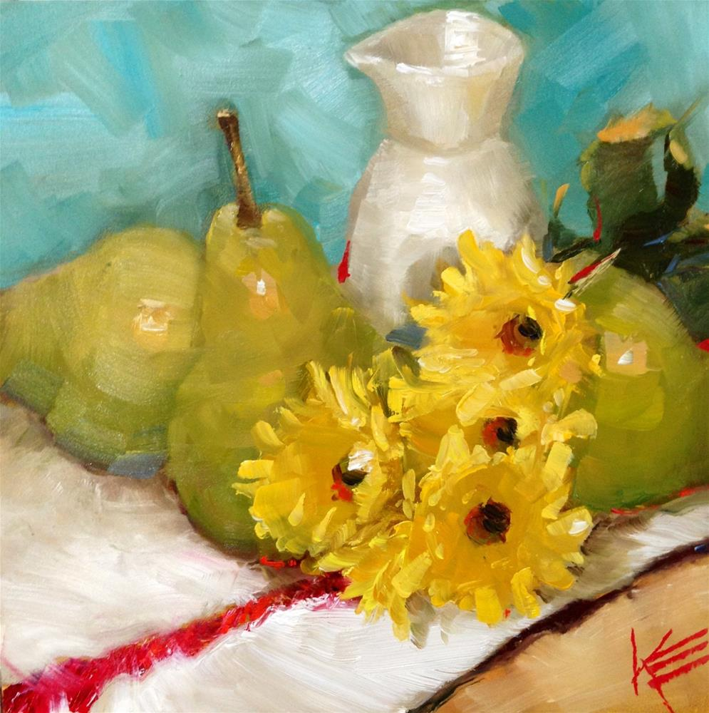 """Pear medley"" original fine art by Krista Eaton"