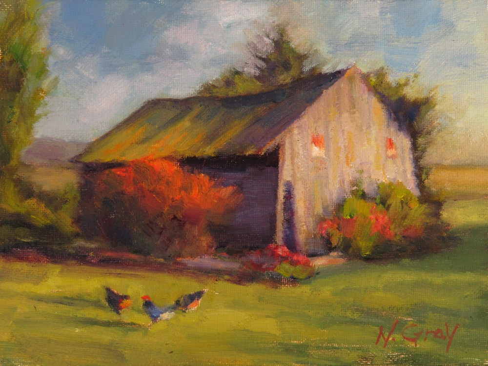 """Old Shed with Chickens"" original fine art by Naomi Gray"