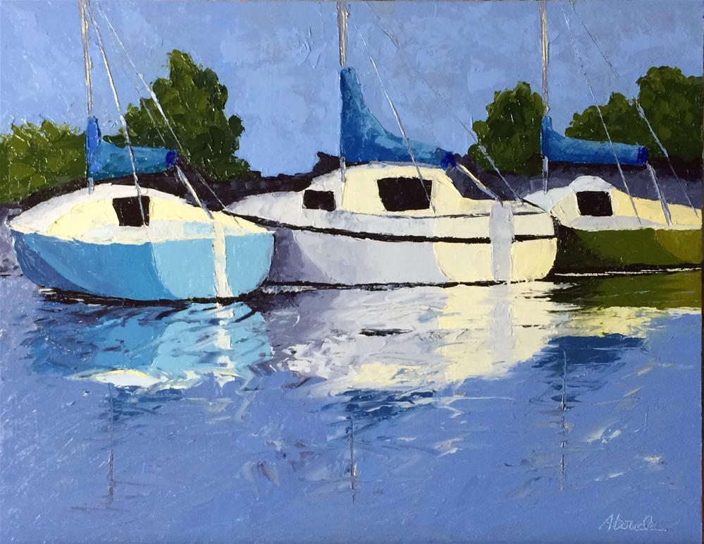 """Sailboats in the Marina"" original fine art by Sandy Abouda"