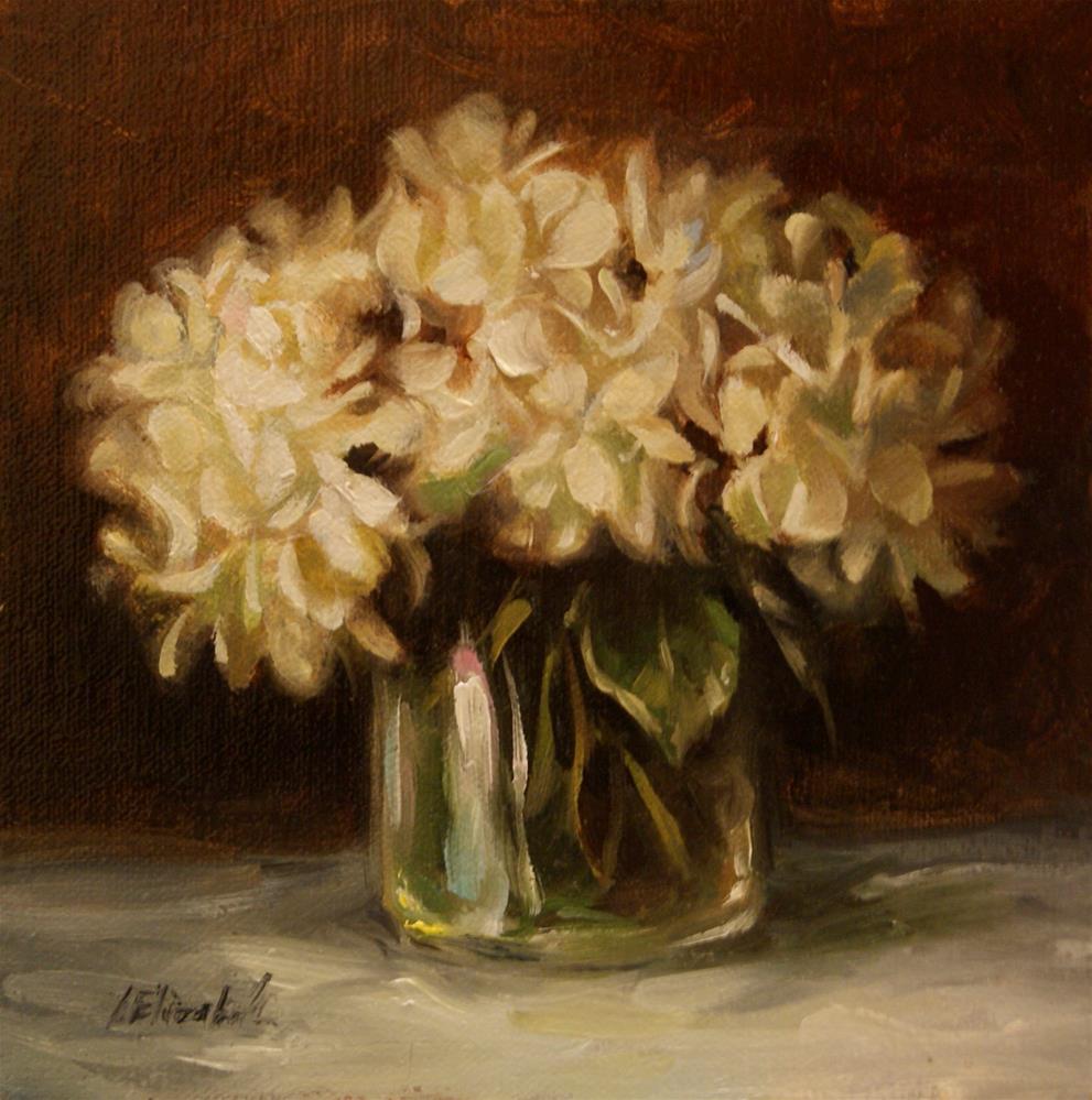 """White Hydrangeas in Glass Vase 6x6 Oil on Linen"" original fine art by Carolina Elizabeth"