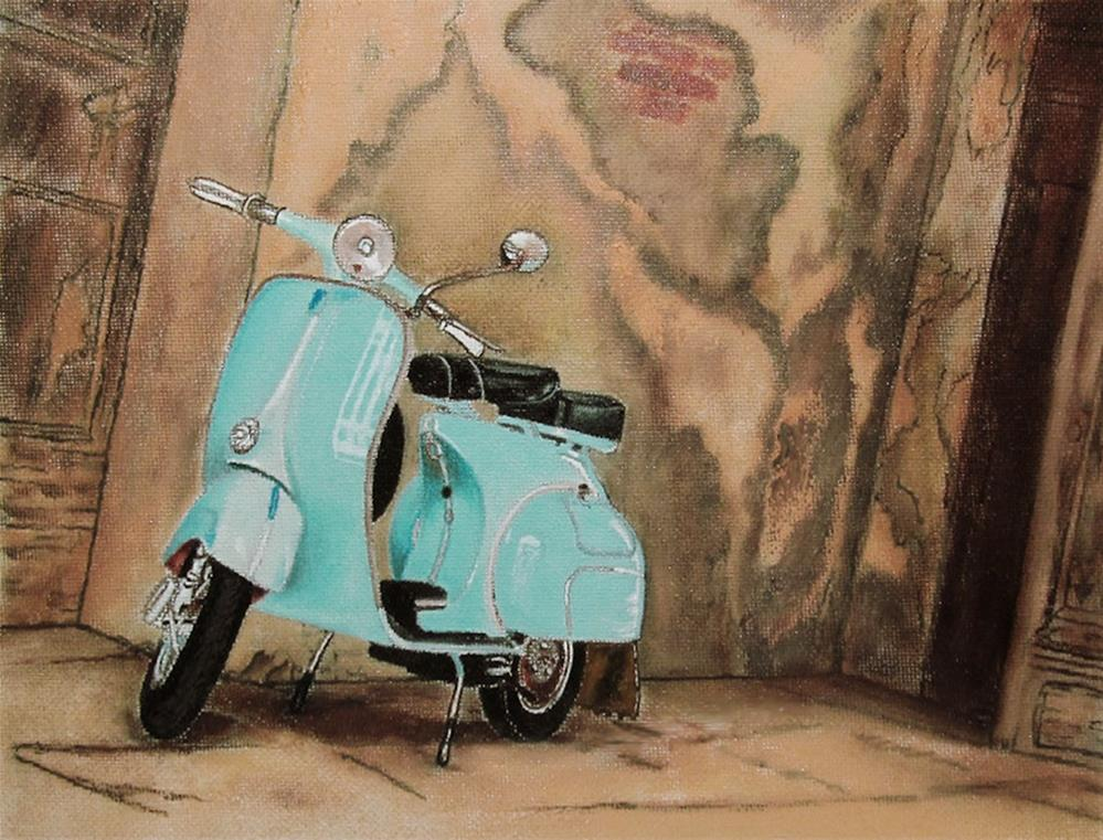 """1960s Lambretta Vintage Motor Scooter"" original fine art by Mary Sylvia Hines"