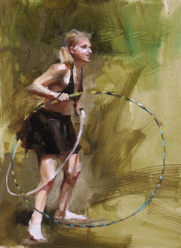 """""""Hula Ring Girl"""" original fine art by Qiang Huang"""