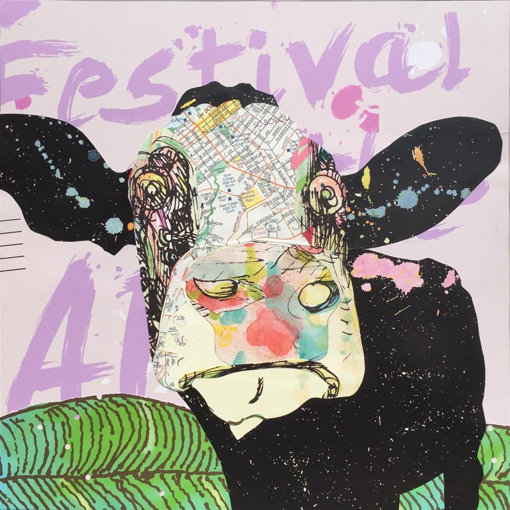 """""""Poster Cow"""" original fine art by Diane Paroda"""