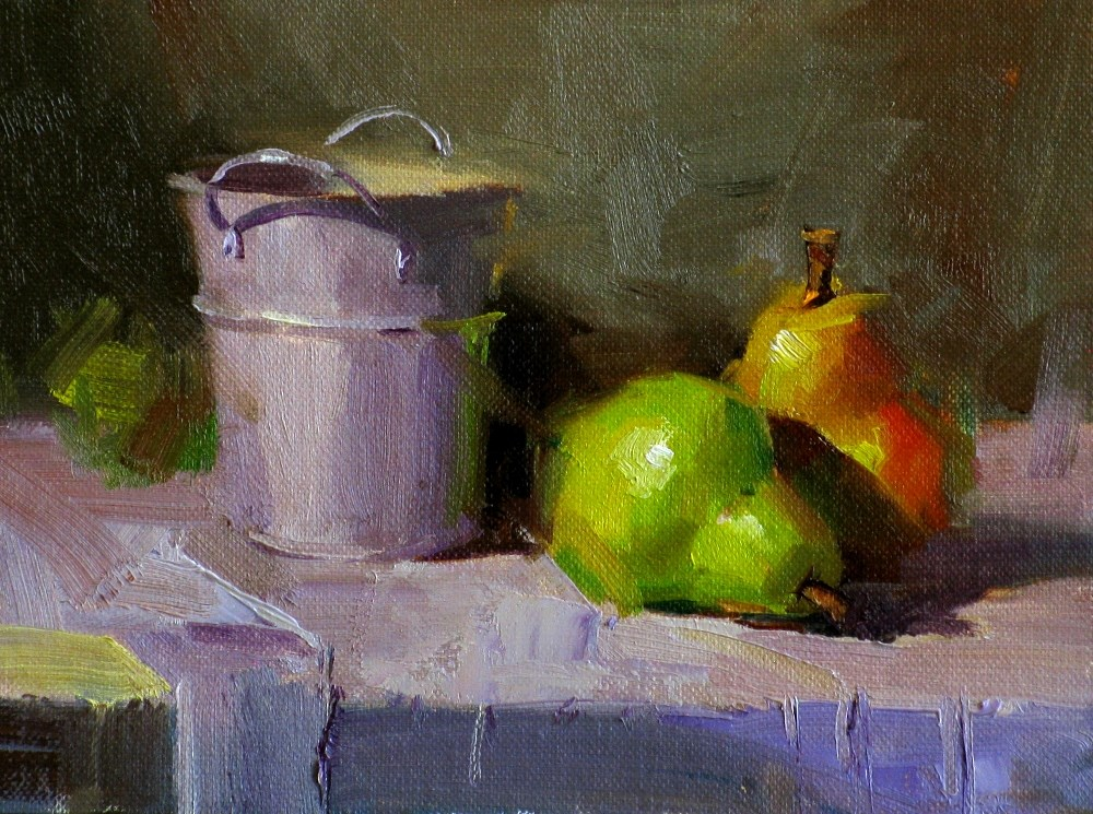 """Pears in Purple"" original fine art by Qiang Huang"