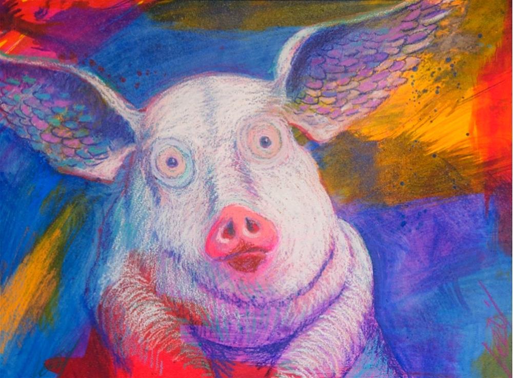 """Angel Pig"" original fine art by Jeff Leedy"