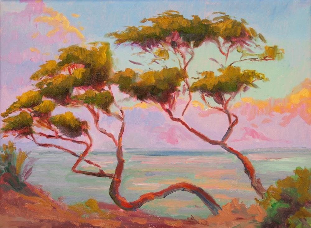 """SUNRISE SCULPTED TREE"" original fine art by Karen E Lewis"
