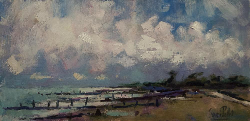 """Clouds and Breakwaters on West Sussex Beach"" original fine art by Andre Pallat"