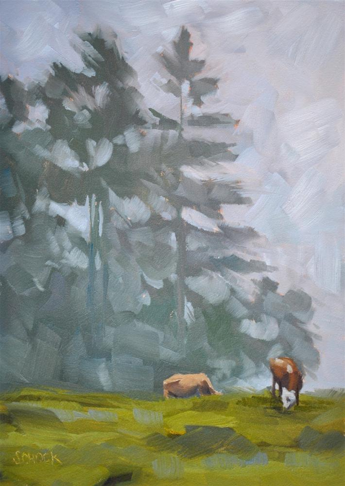 """Cows and Fog, Gimmelwald Switzerland - 5x7"" original fine art by Sharon Schock"