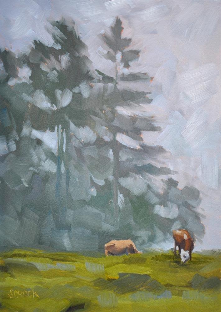 """Cows and Fog, Gimmelwald Switzerland - 5x7"" original fine art by Sharon Schock"