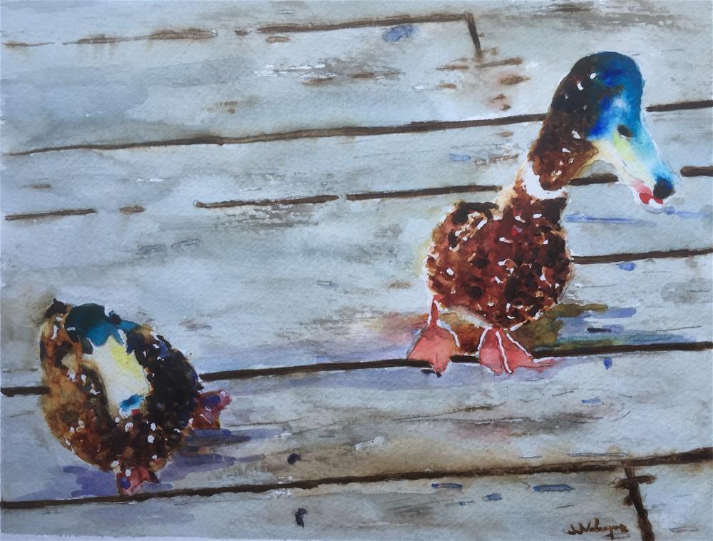 """Friendly ducks"" original fine art by Juan Velasquez"