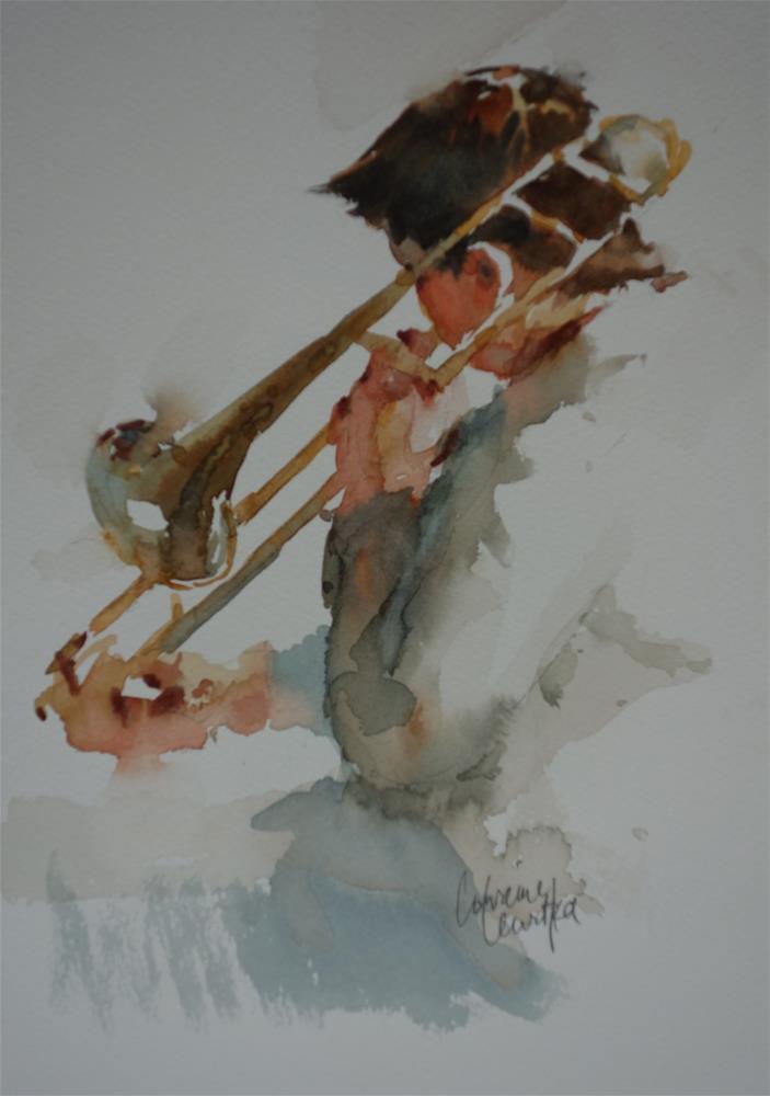 """""""Trombone"""" original fine art by Lorraine Lewitzka"""