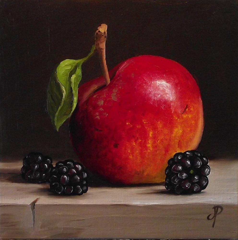 """Apple & Blackberry #2"" original fine art by Jane Palmer"