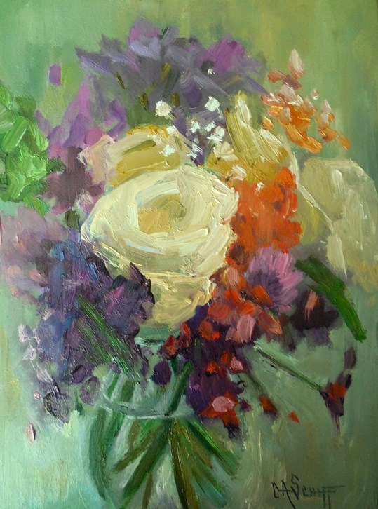 """Floral Bouquet in Oil, Daily Painting, 6x8 Still Life Painting  SOLD"" original fine art by Carol Schiff"