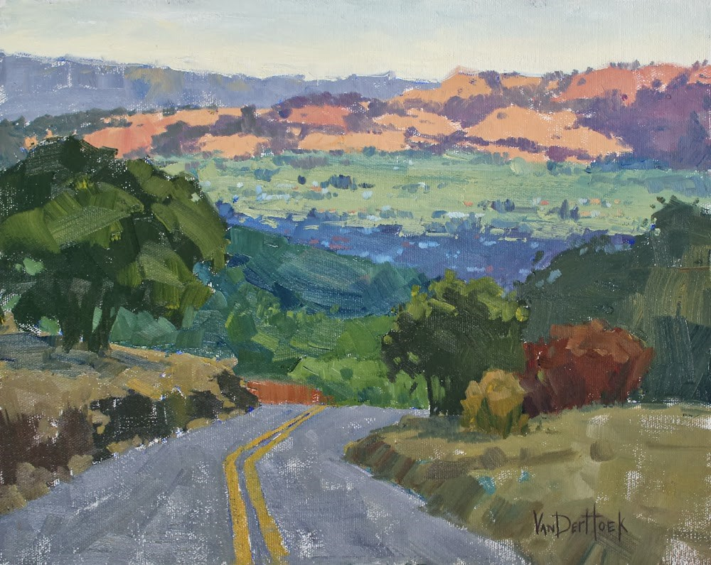 """High Road at Dawn - A painting from Sonoma Plein Air 2013 - Sonoma Vista Painting - Bay Area Paintin"" original fine art by Kim VanDerHoek"