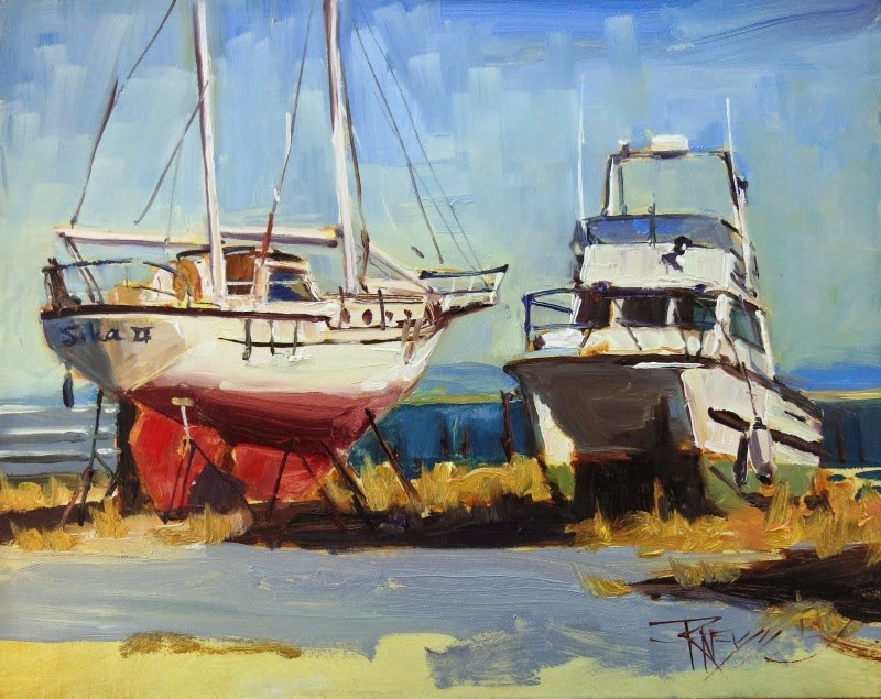 """""""Yard Mates  plein air oil painting from Paint the Peninsula by Robin Weiss"""" original fine art by Robin Weiss"""