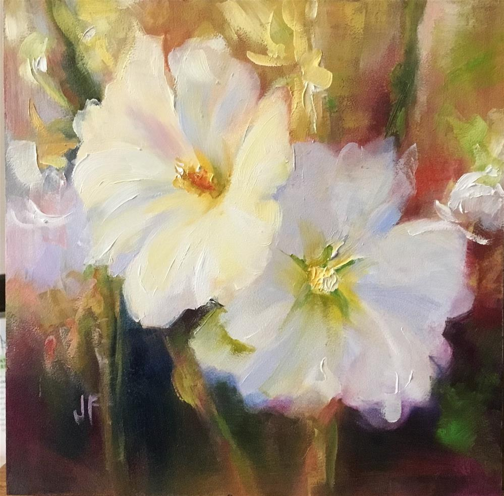 """Hollyhock Blossoms"" original fine art by Jean Fitzgerald"
