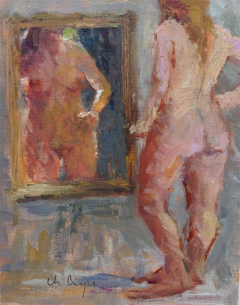 """A look in the mirror"" original fine art by Christine Bayle"