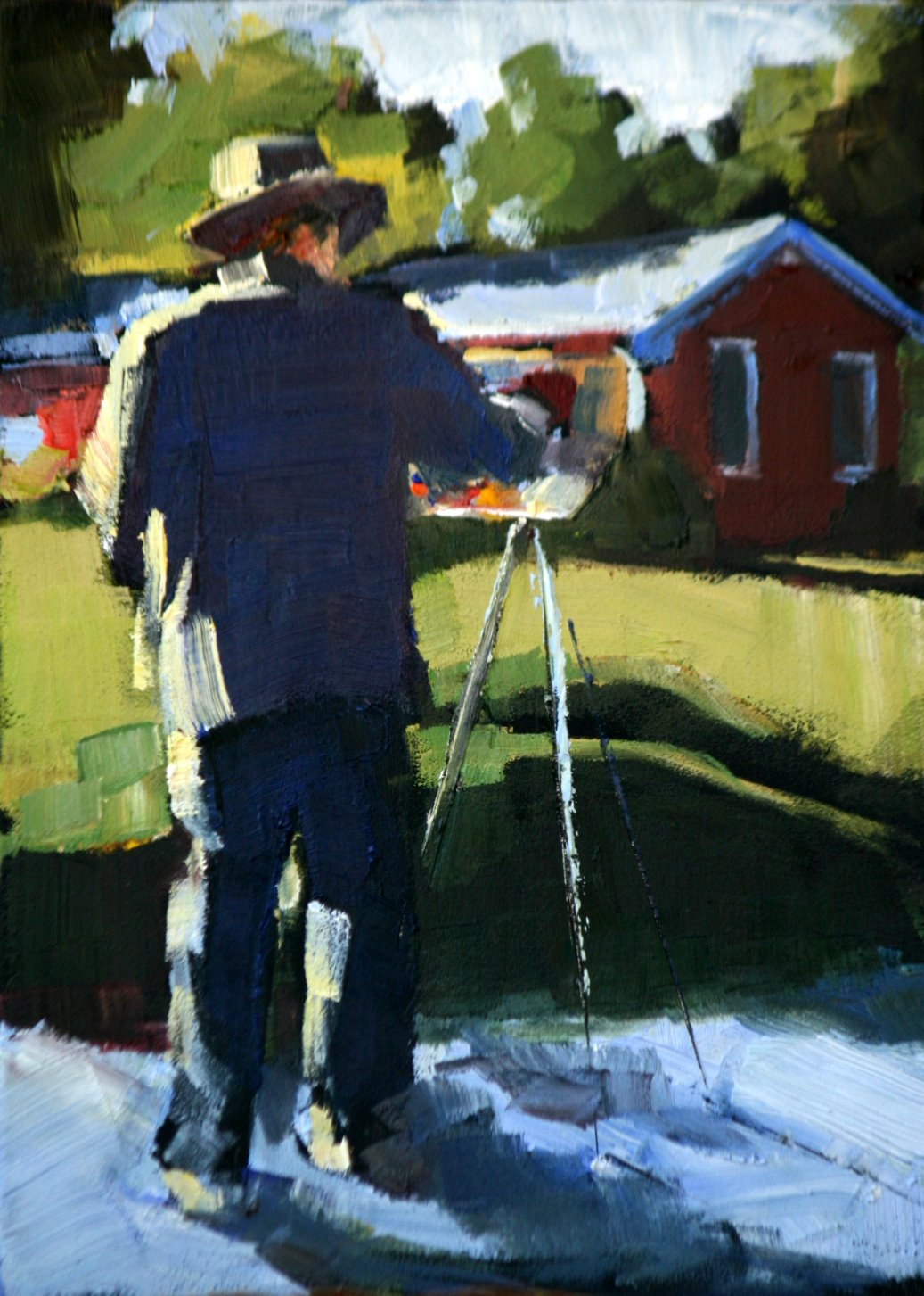 """Horn at work"" original fine art by Carol Carmichael"