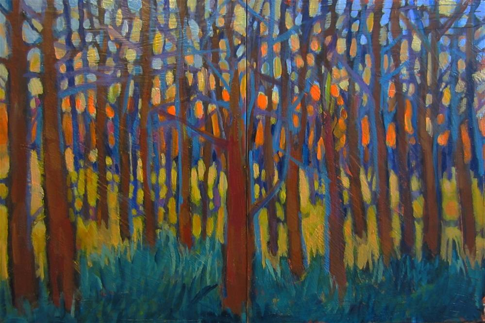 """Tangled Trees -Diptych"" original fine art by Kristina Davidson"