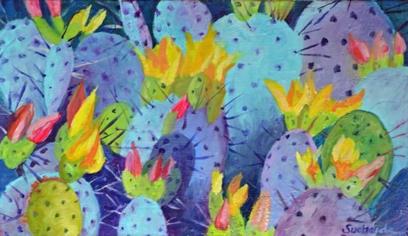 """Arizona Cacti"" original fine art by Laurie Sucharda"