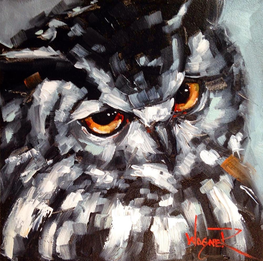 """CONTEMPORARY MONOCHROMATIC OWL PAINTING in OILS by OLGA WAGNER"" original fine art by Olga Wagner"