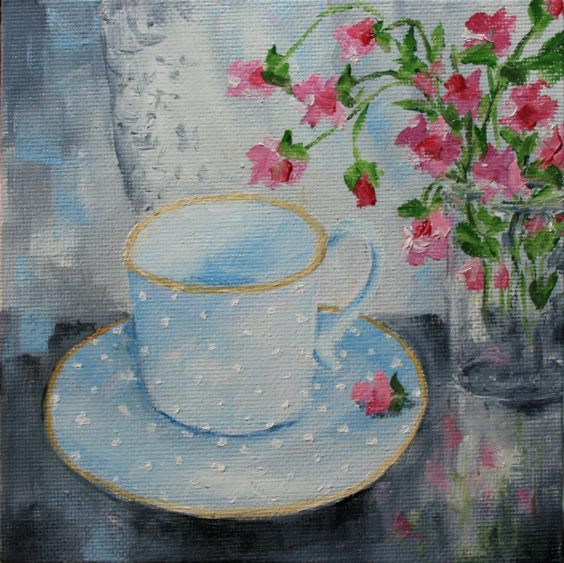 """Blue Teacup and Sweetpeas"" original fine art by Jean Nelson"