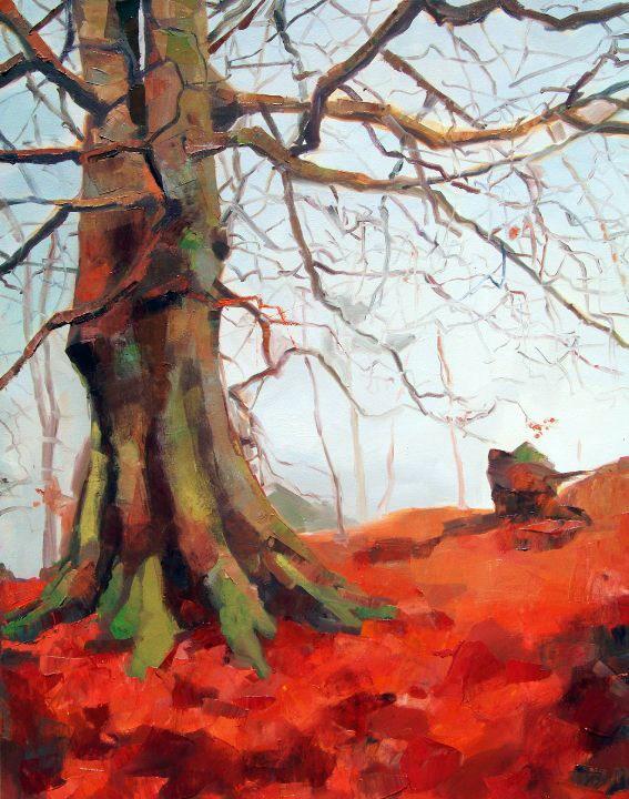 """Fallen Red Leaves"" original fine art by Nava Judith"
