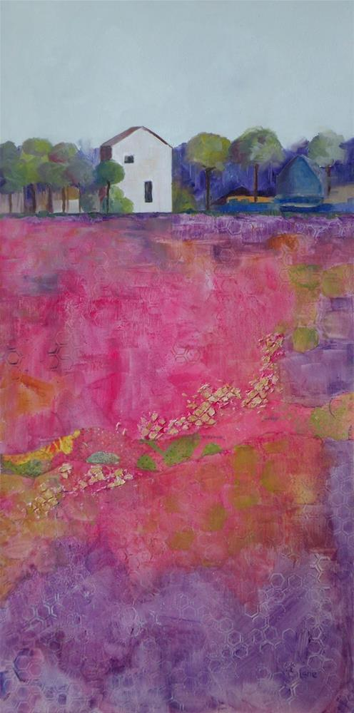 """MAGENTA FIELD ORIGINAL MIXED MEDIA LANDSCAPE WITH BUILDING © SAUNDRA LANE FINE ART"" original fine art by Saundra Lane Galloway"